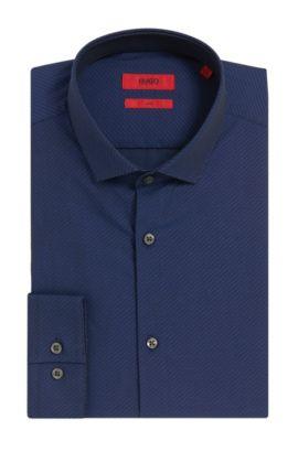 Dobby Cotton Dress Shirt, Slim Fit | Erondo, Dark Blue