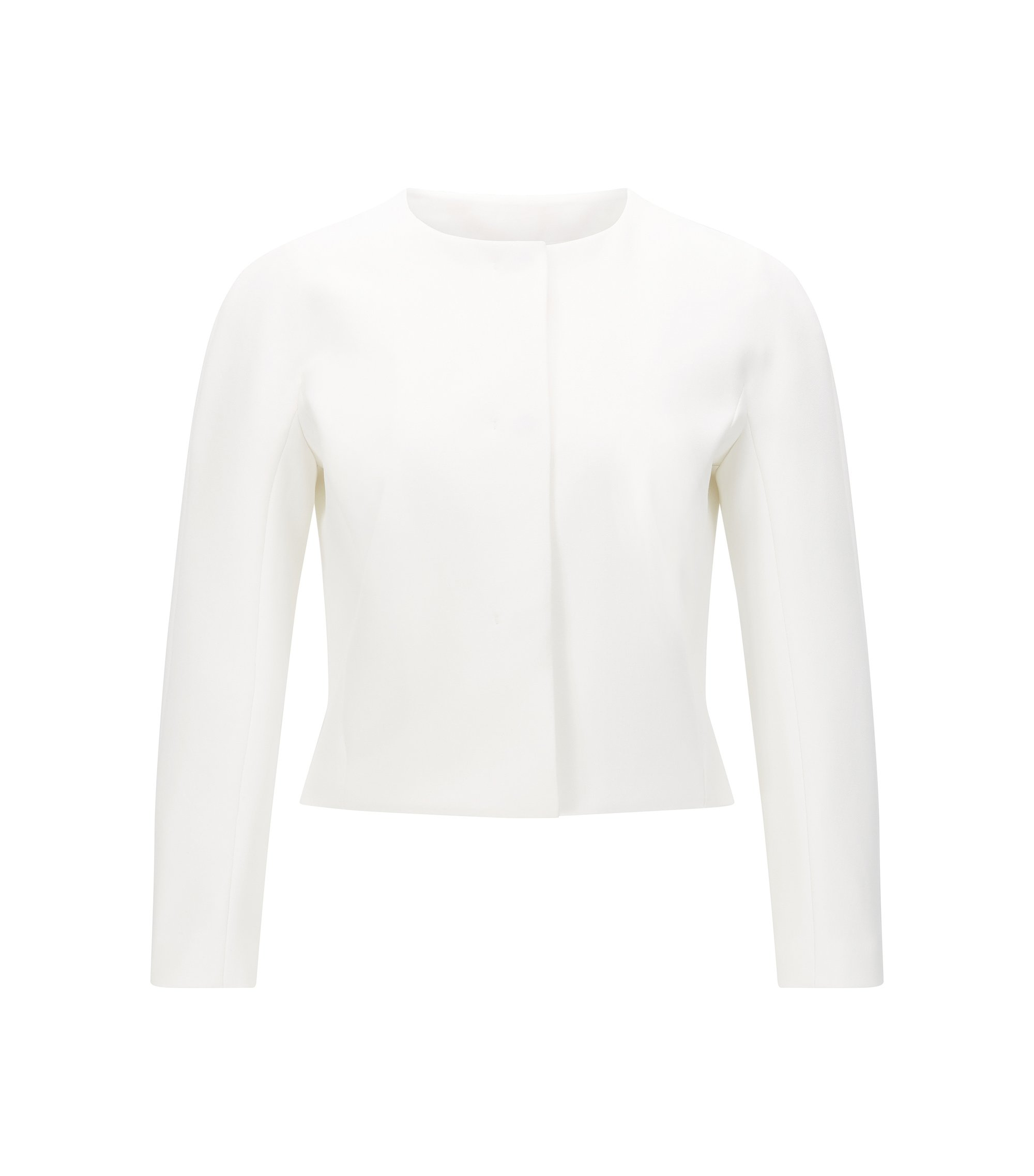 'Jyleana' | Stretch Cotton Blend Short Jacket, Natural