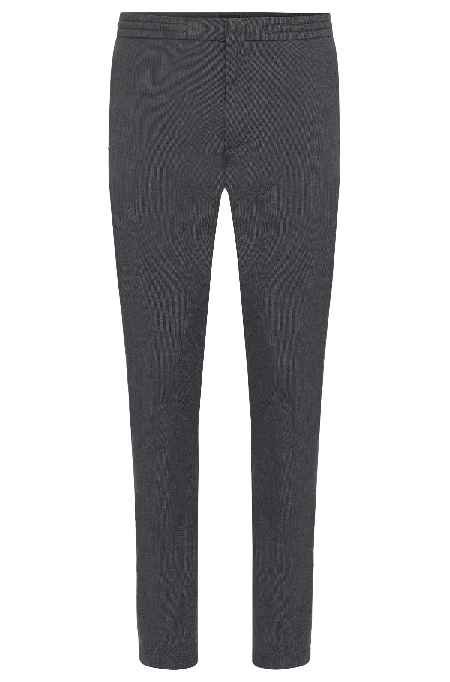 Stretch Cotton Blend Drawstring Pants, Extra Slim Fit | Kito Drawstring W, Grey