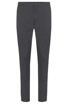 'Kito-Drawstring-W' | Extra Slim Fit, Stretch Cotton Blend Drawstring Pants, Grey