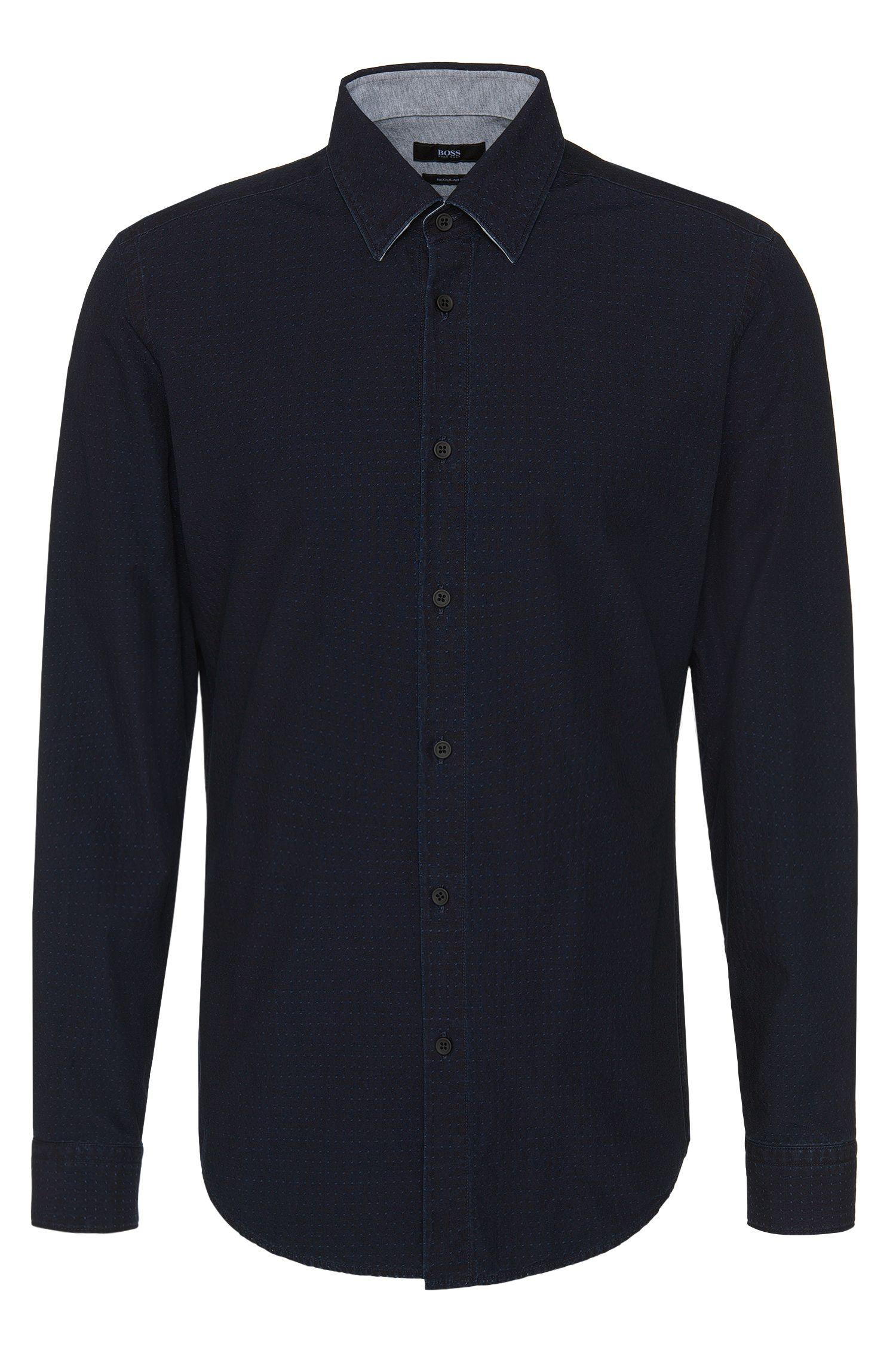 'Loreno' | Regular Fit, Cotton Embroidered Button Down Shirt