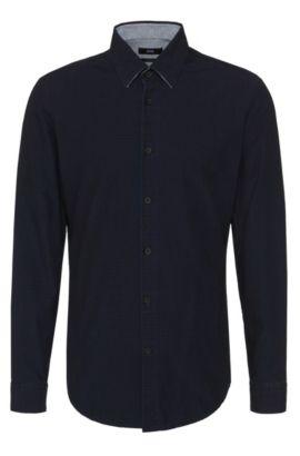 'Loreno' | Regular Fit, Cotton Embroidered Button Down Shirt, Dark Blue