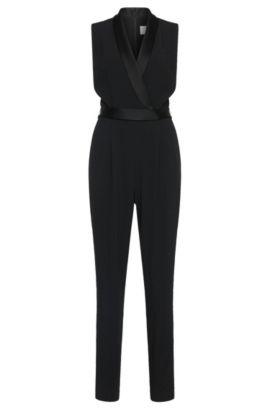 'Duxida' | Crepe Satin Jumpsuit, Black