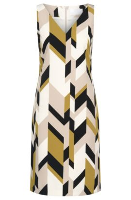 'Dephani' | Herringbone Print Sheath Dress, Patterned
