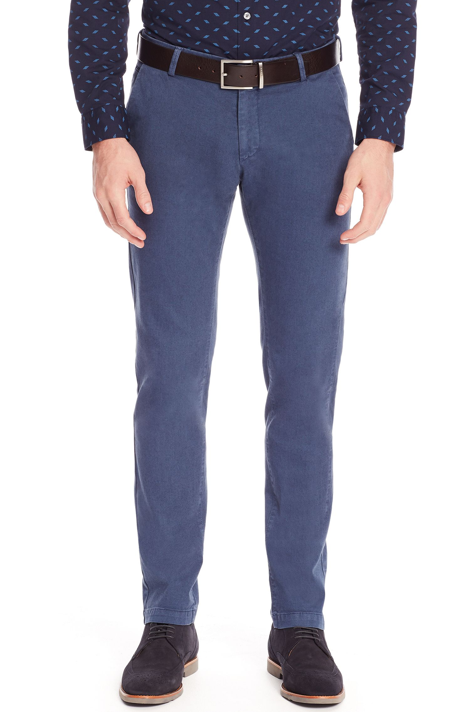 Stretch Cotton Gabardine Pant, Slim Fit | Rice D, Open Blue