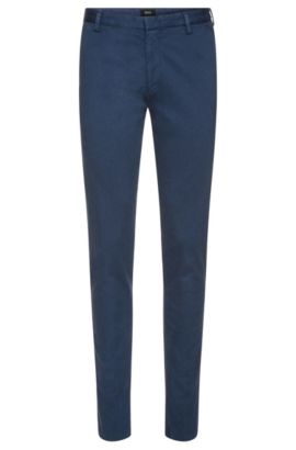 'Rice-D' | Slim Fit, Stretch Cotton Gabardine Trousers, Open Blue
