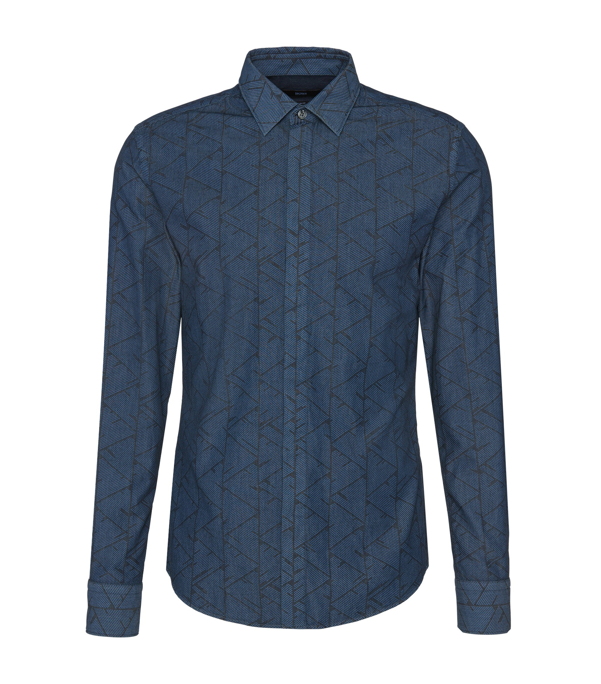 'Reid' | Slim Fit, Italian Cotton Abstract Button Down Shirt, Light Blue
