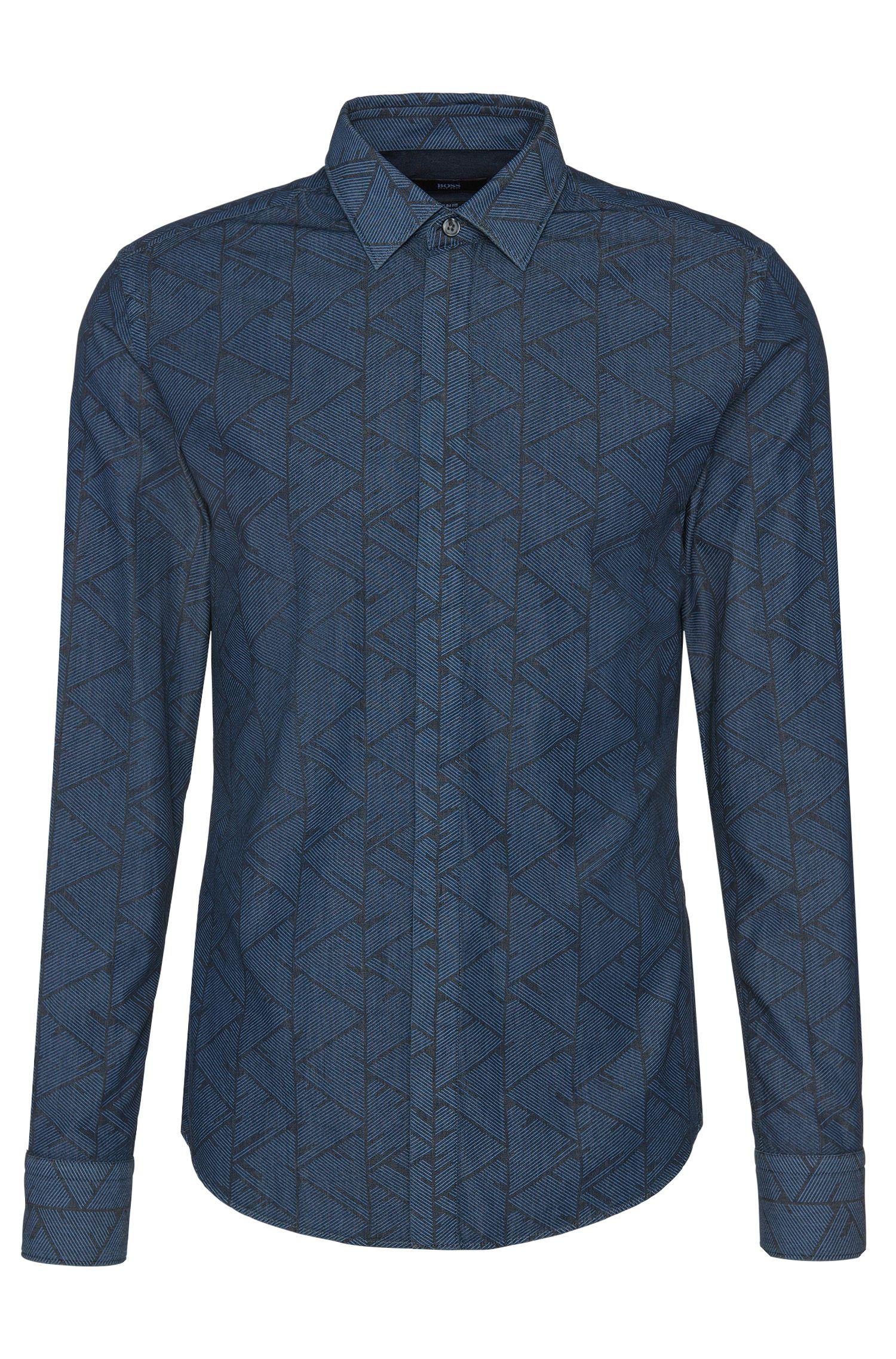 'Reid' | Slim Fit, Italian Cotton Abstract Button Down Shirt, Light Blue