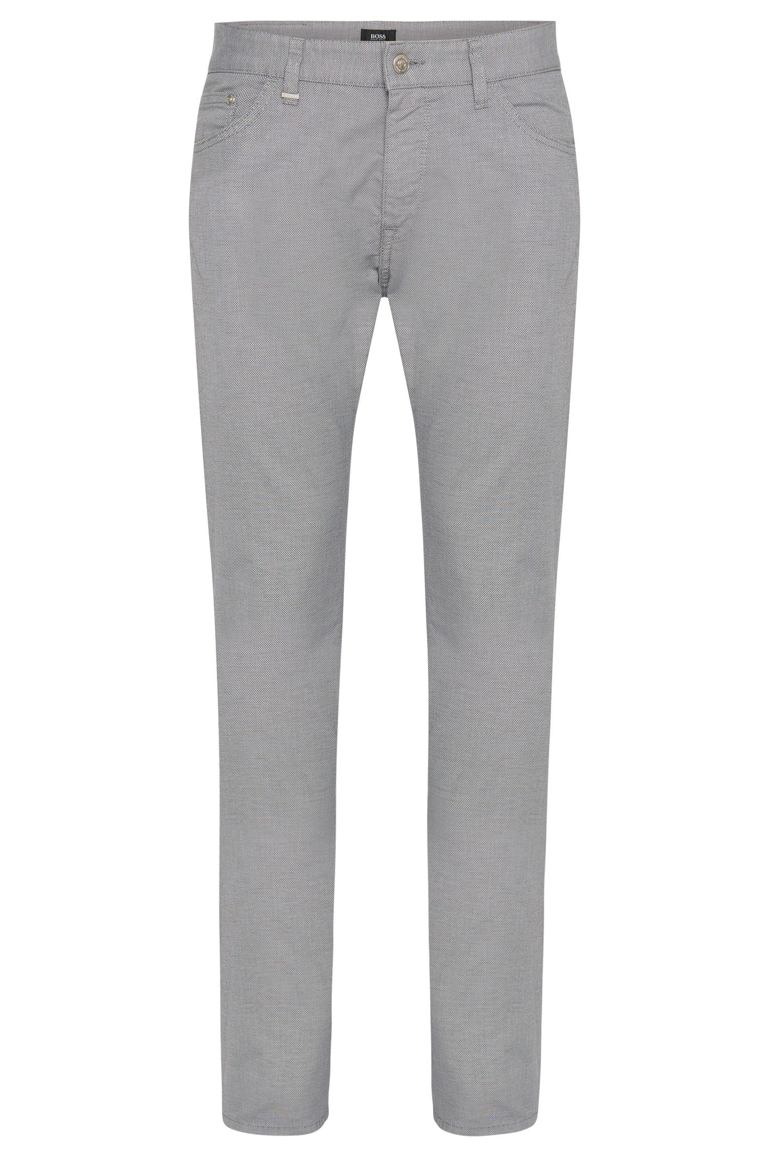 'Maine' | Regular Fit, Stretch Cotton Patterned Trousers