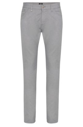 'Maine' | Regular Fit, Stretch Cotton Patterned Trousers, Light Grey