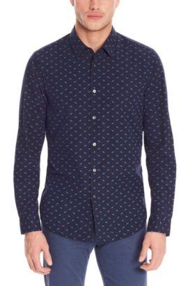'Lukas' | Regular Fit, Cotton Button Down Shirt, Dark Blue