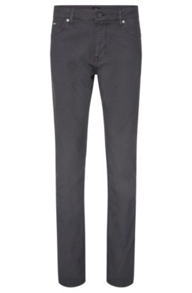 'Maine' | Regular Fit, Stretch Cotton Blend Birdseye Trousers, Grey