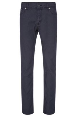 'Maine' | Regular Fit, Stretch Cotton Blend Birdseye Trousers, Dark Blue