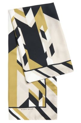 'Lisana' | Silk Print Large Square Scarf, Patterned