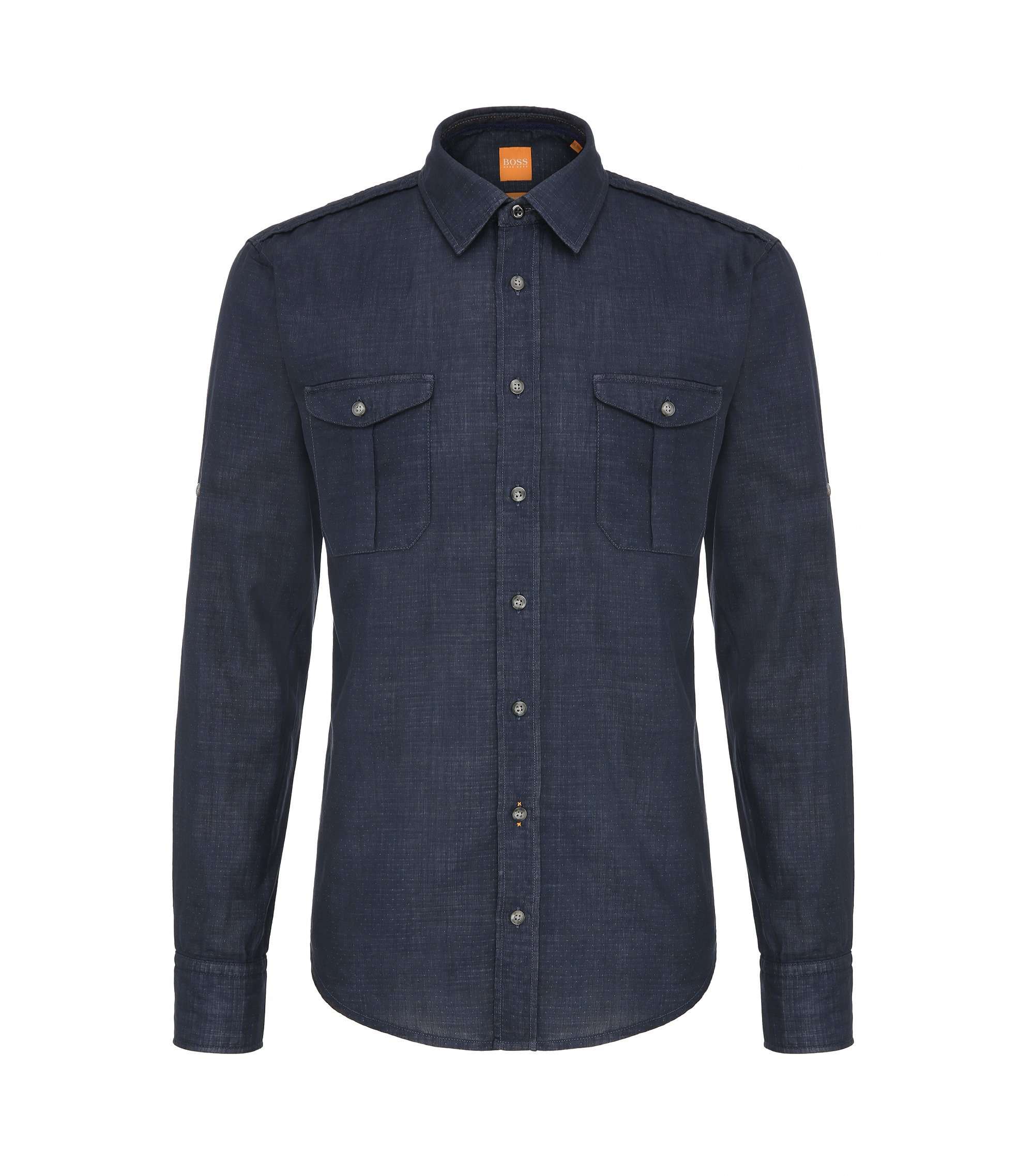 Cotton Button Down Shirt, Slim Fit | CadettoE, Open Blue