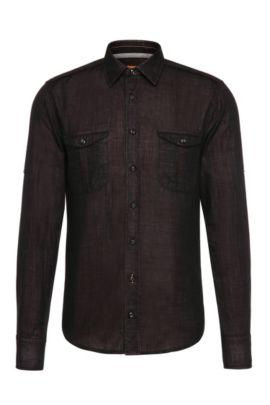 'CadettoE' | Slim Fit, Cotton Button Down Shirt, Red