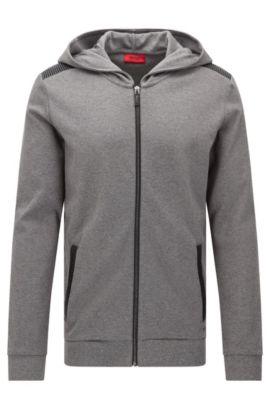 'Dellagio' | Cotton Hooded Moto-Detail Sweat Jacket, Open Grey