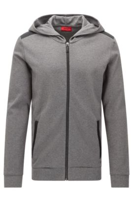 'Dellagio' | Cotton Hooded Moto-Detail Sweat Jacket, Open Grey