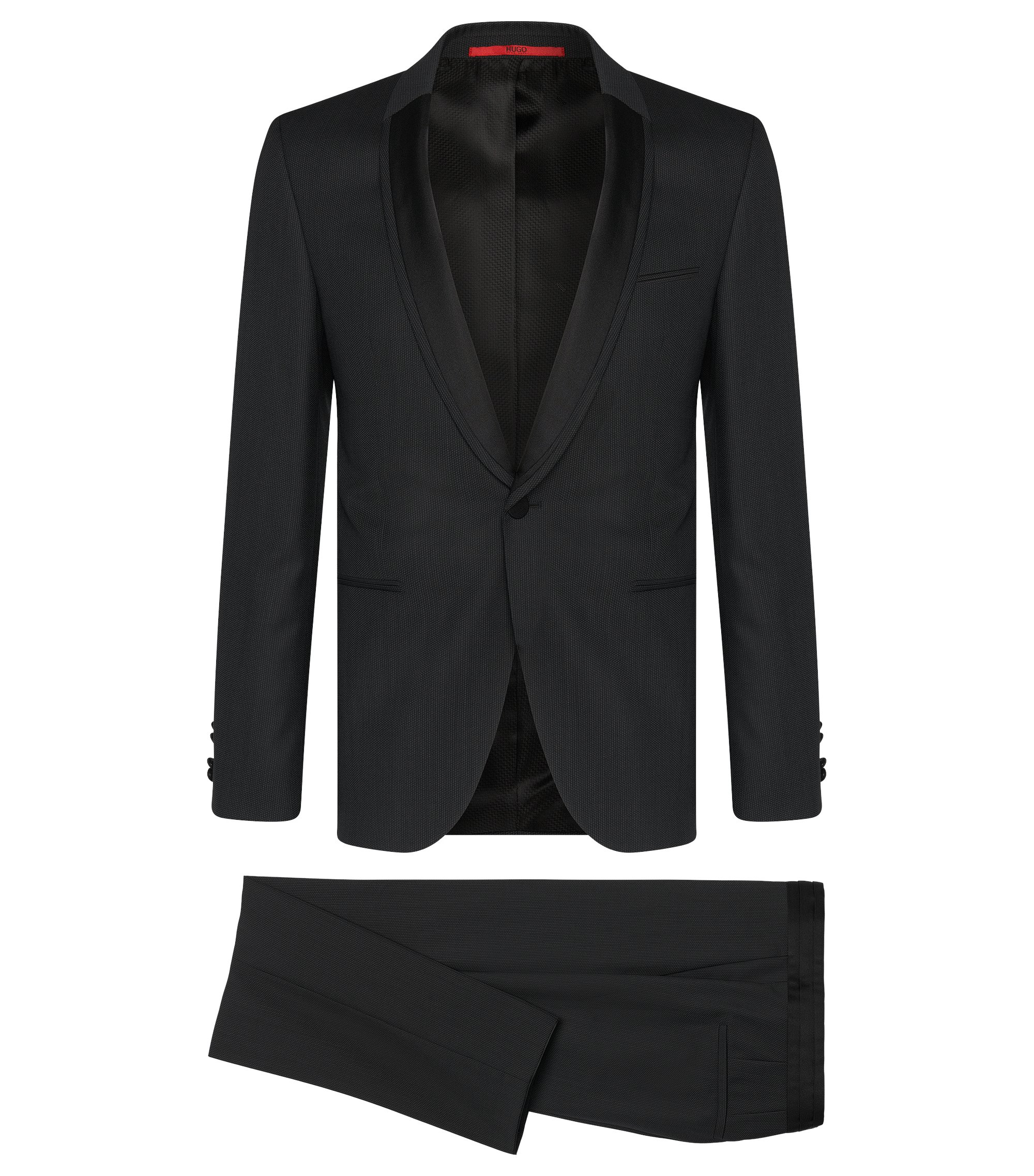 Super 110 Virgin Wool Tuxedo, Extra-Slim Fit | Anros/Himans, Black