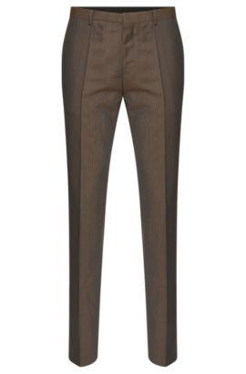 'Hets' | Slim Fit, Virgin Wool Patterned Dress Pants , Brown