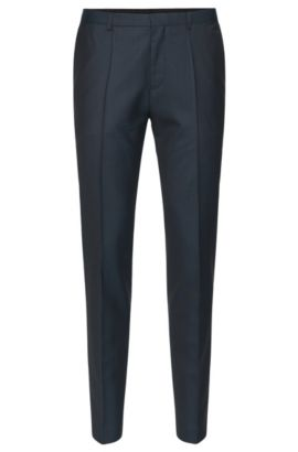 'Hets' | Slim Fit, Virgin Wool Patterned Dress Pants , Open Blue