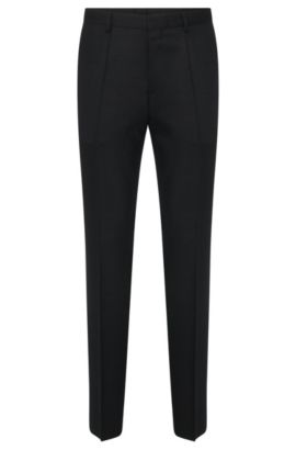 'Hets' | Slim Fit, Stretch Virgin Wool Blend Patterned Dress Pants, Black