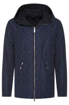 'Callao' | Reversible Water Resistant Jacket, Removable Hood, Dark Blue