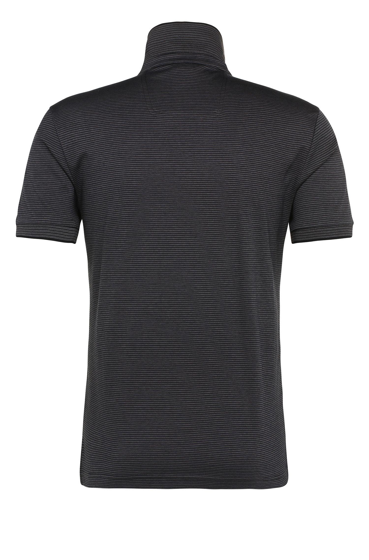 Cotton Striped Polo Shirt, Regular Fit | C-Janis, Black