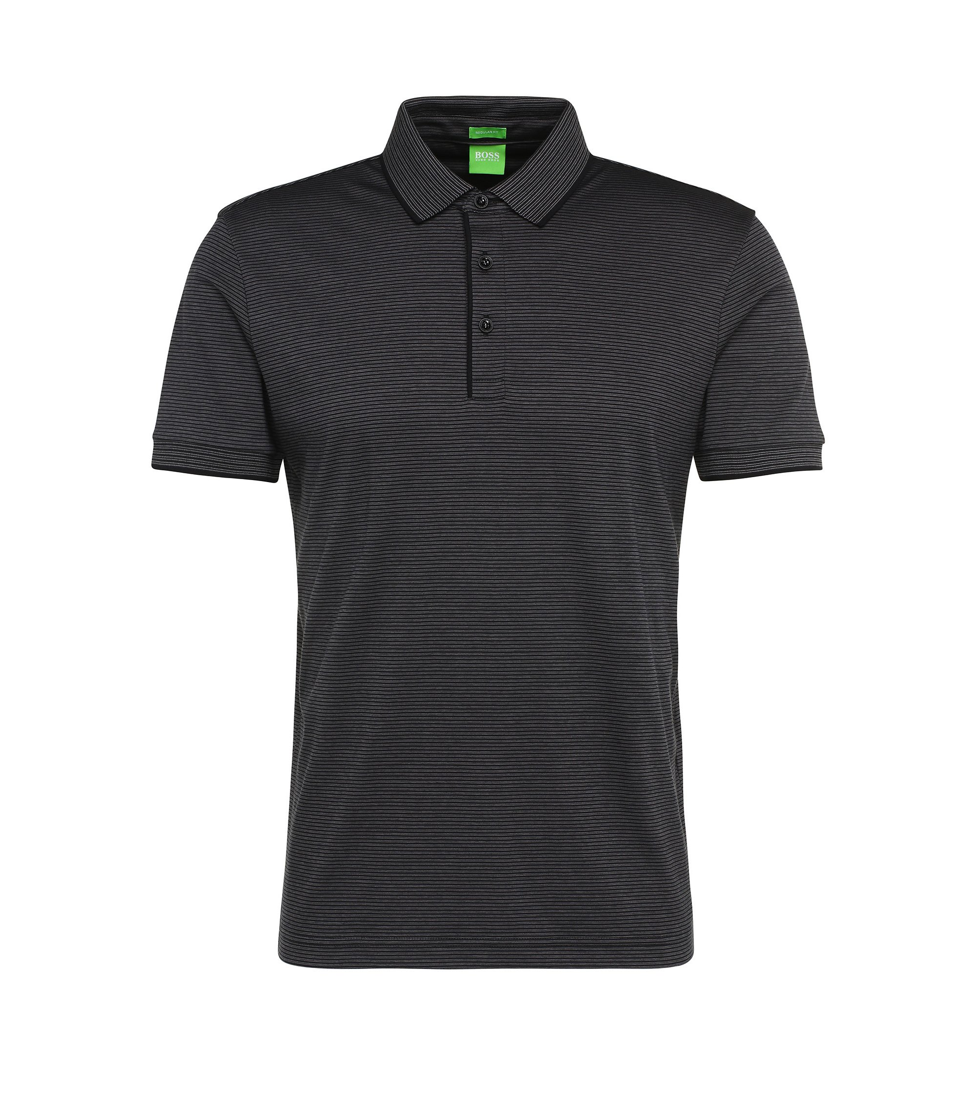 Cotton Striped Polo Shirt, Regular Fit | C-Janis, Black