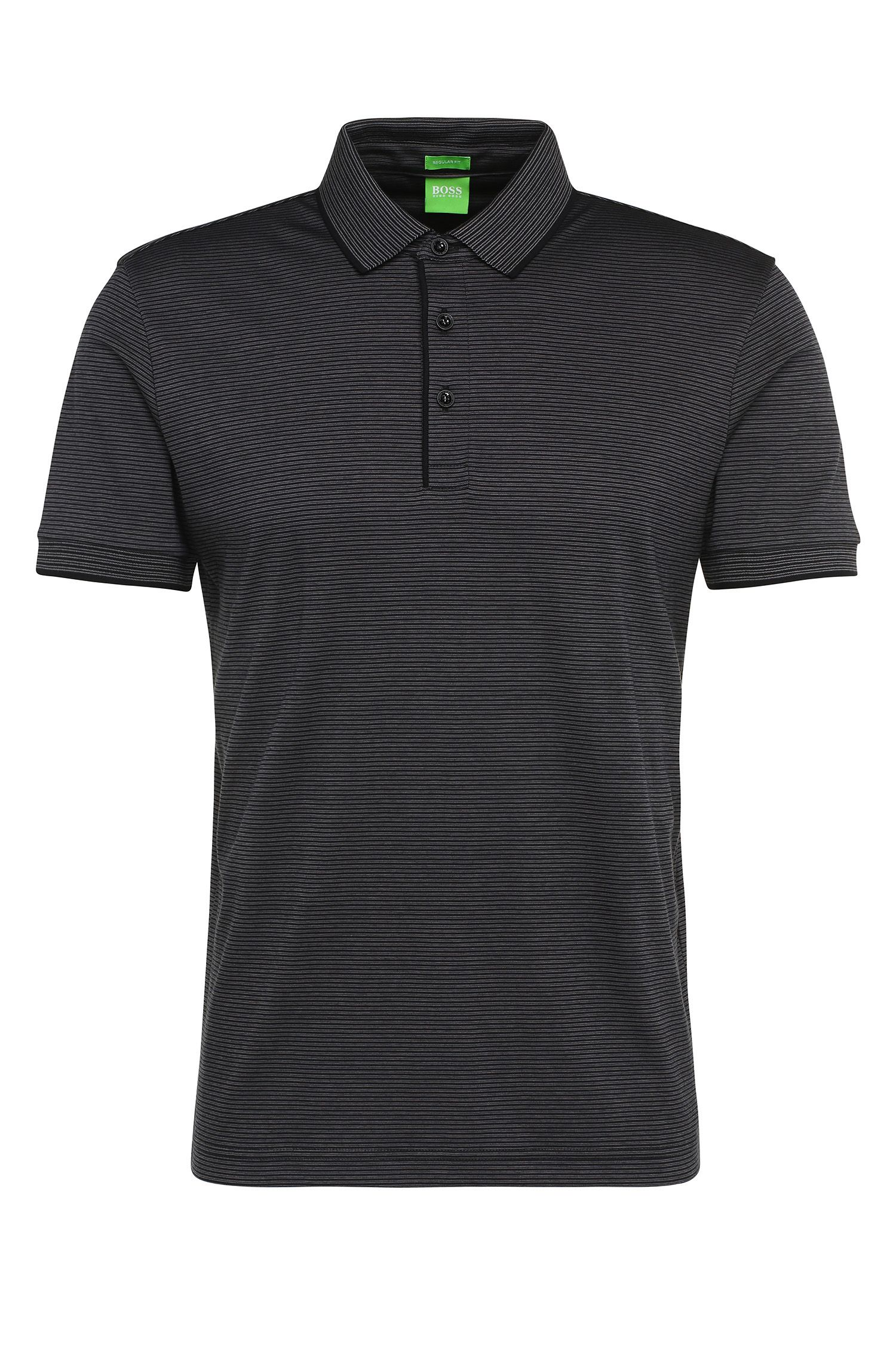 'C Janis' | Regular Fit, Cotton Striped Polo Shirt