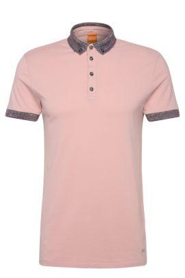 'Pilipe'   Slim Fit, Cotton Polo Shirt, light pink