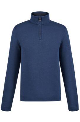 'C-Piceno' | Cotton Blend Troyer Shirt, Dark Blue