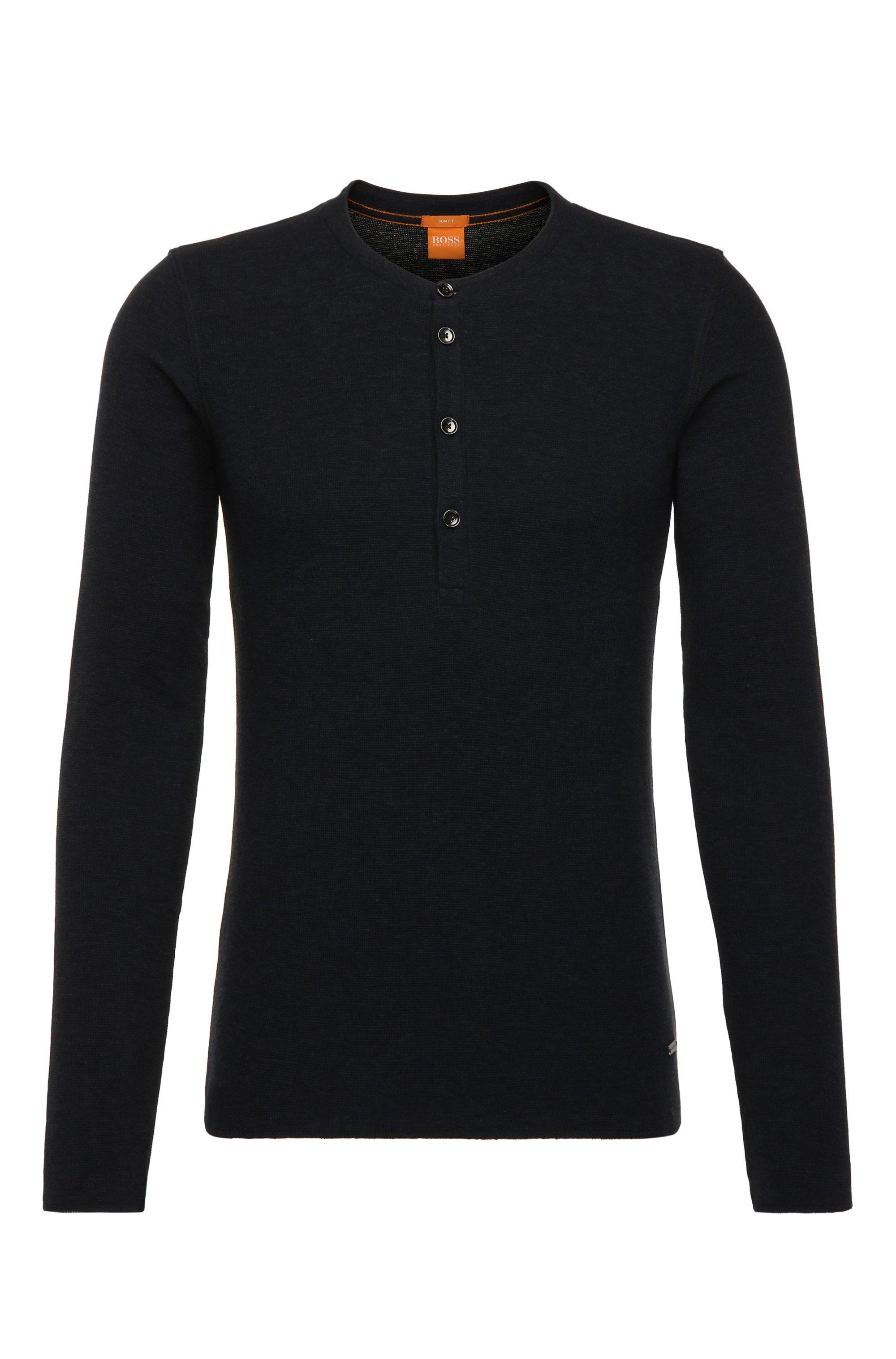 Cotton Waffle Henley Shirt | Topsider, Dark Blue
