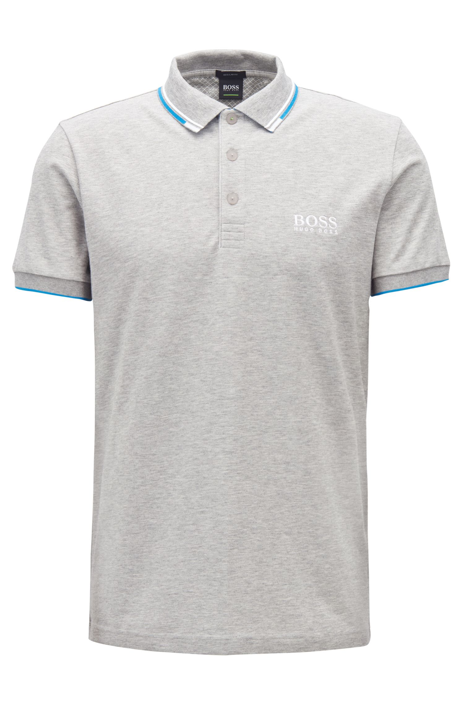 Regular fit piqué polo shirt with quick-dry technology, Open Grey