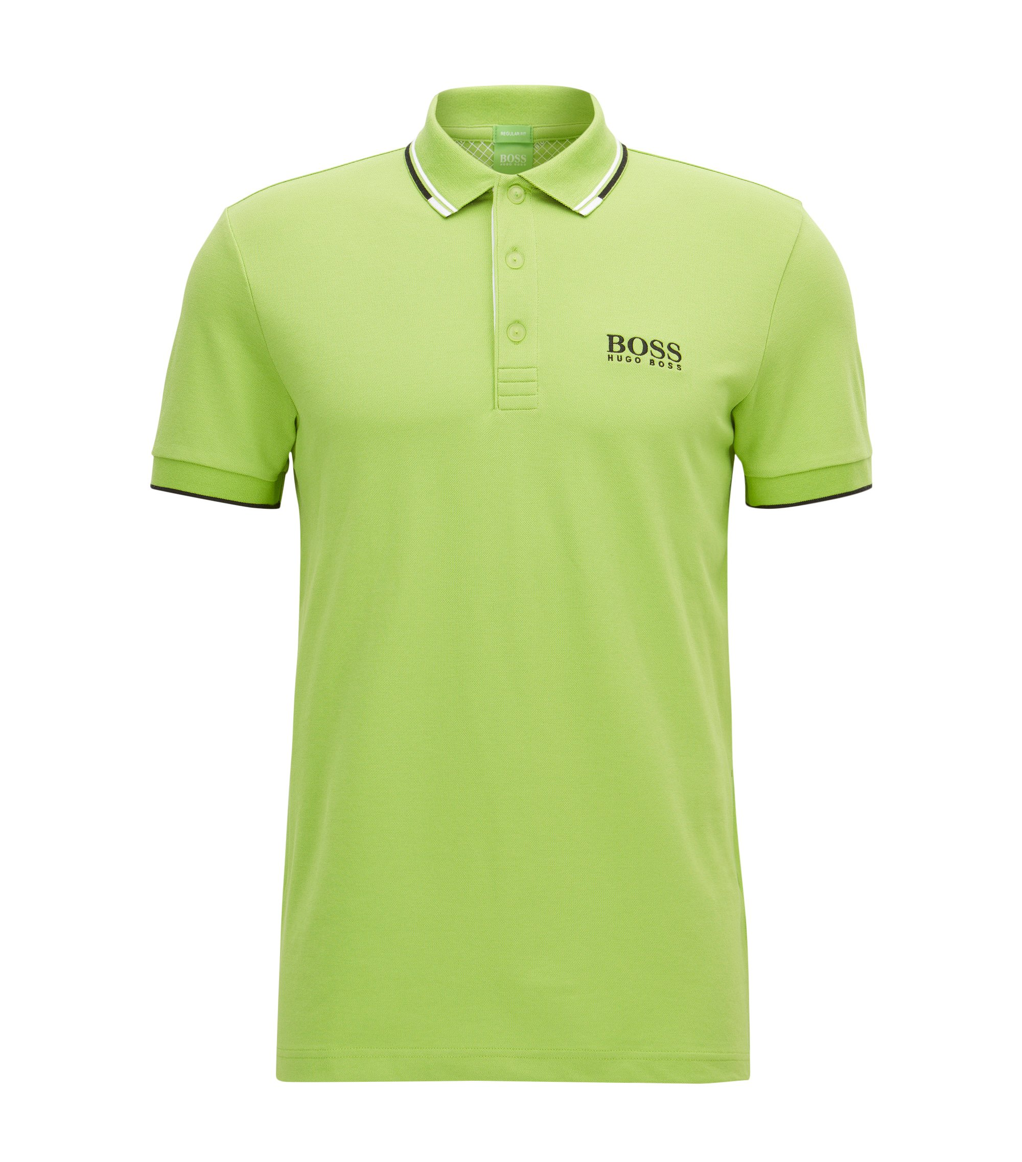 Regular fit piqué polo shirt with quick-dry technology, Light Green