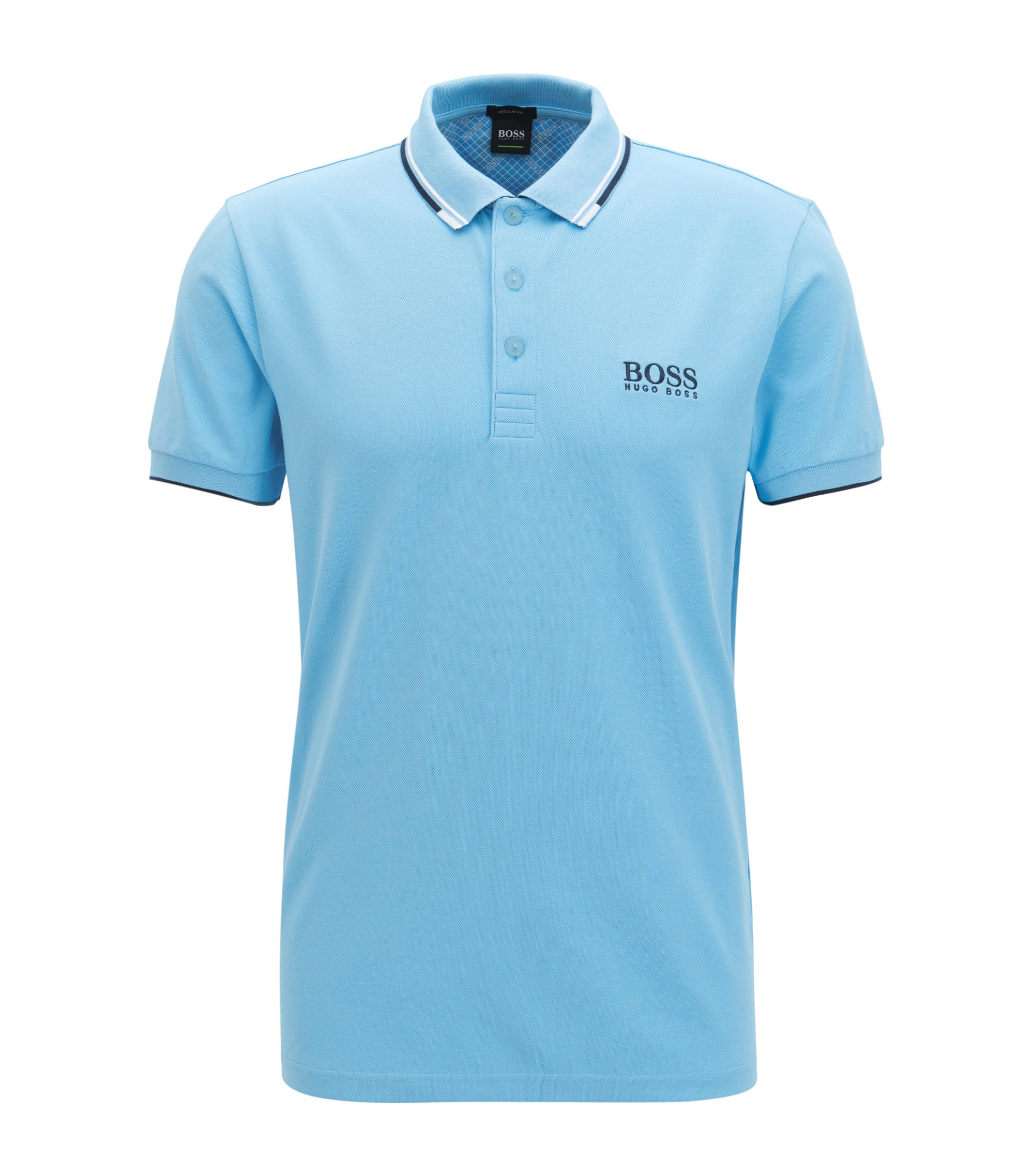 Regular fit piqué polo shirt with quick-dry technology, Open Blue
