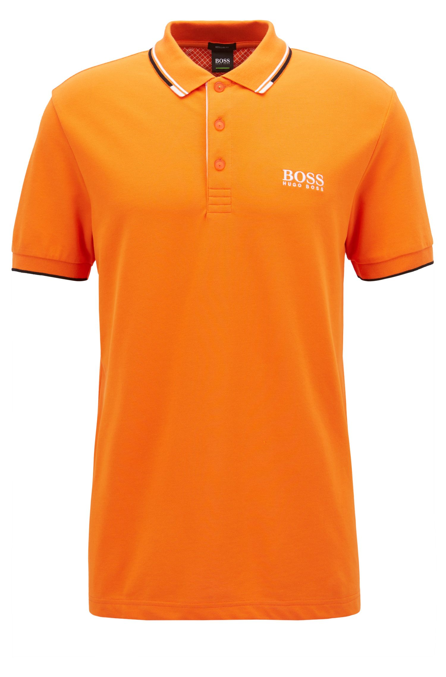 Regular fit piqué polo shirt with quick-dry technology, Orange
