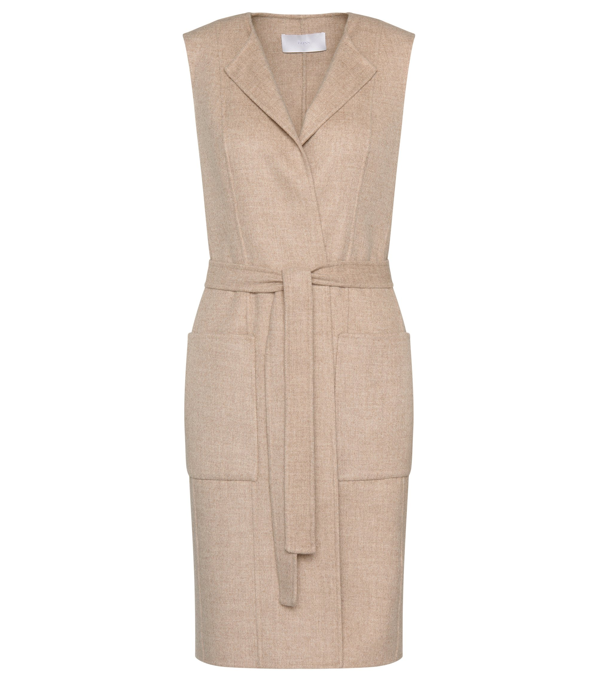 Wool Blend Belted Long Vest | Katsyna, Light Beige