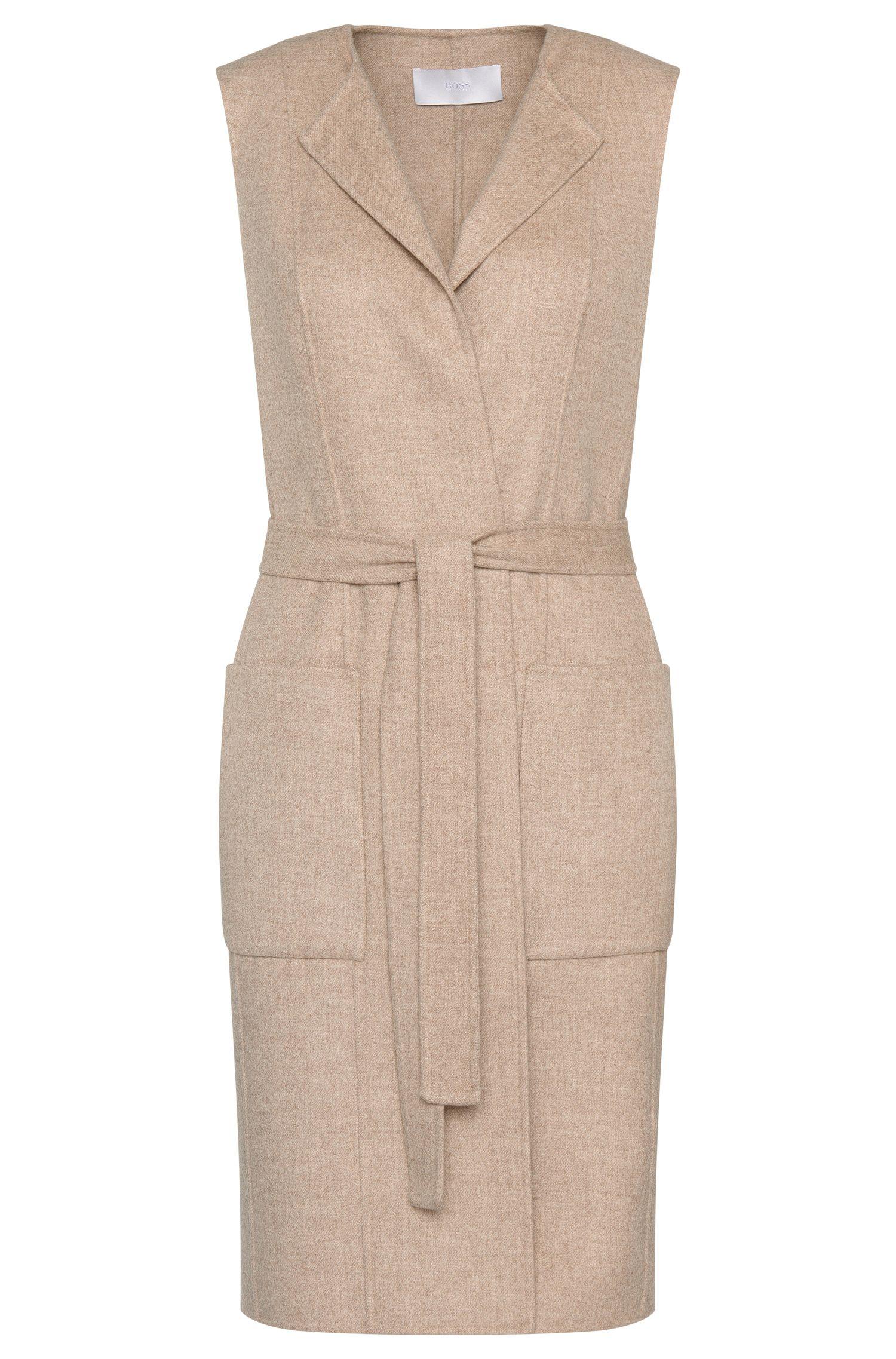 Wool Blend Belted Long Vest | Katsyna