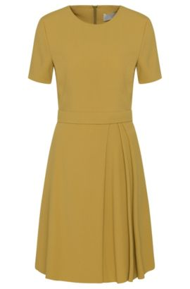 'Dalinkana' | Crepe A-Line Pleated Dress, Green
