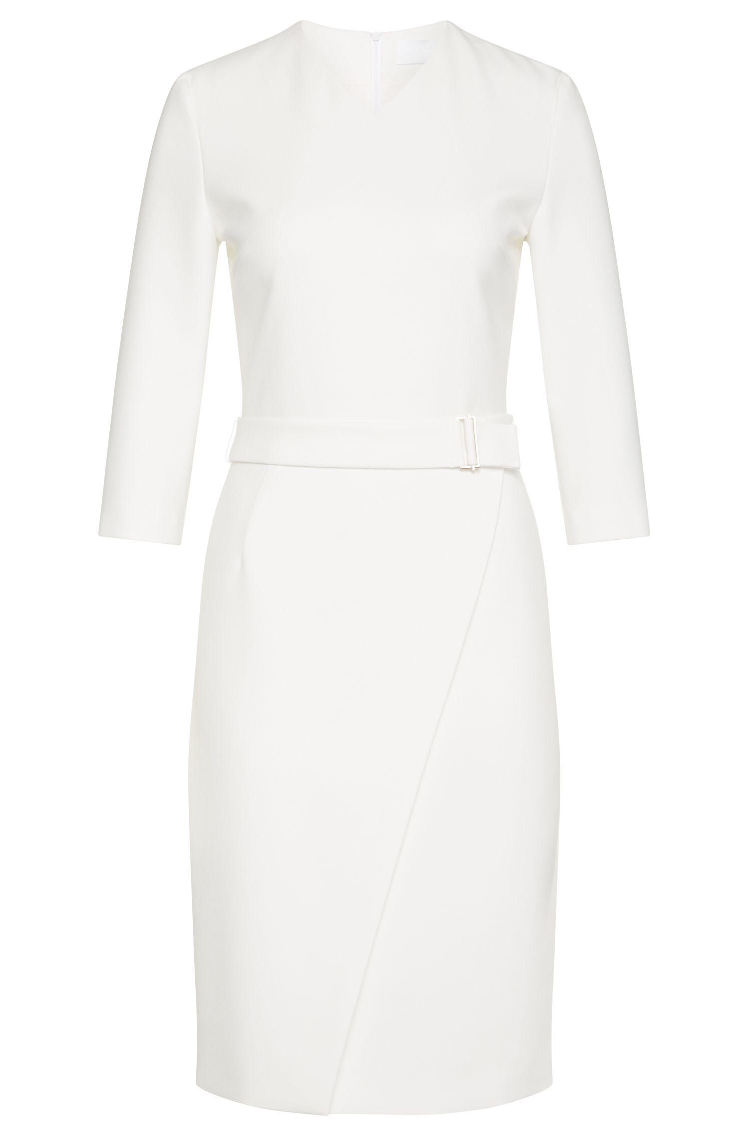 Stretch Cotton Blend Belted Wrap Skirt Sheath Dress | Dylea