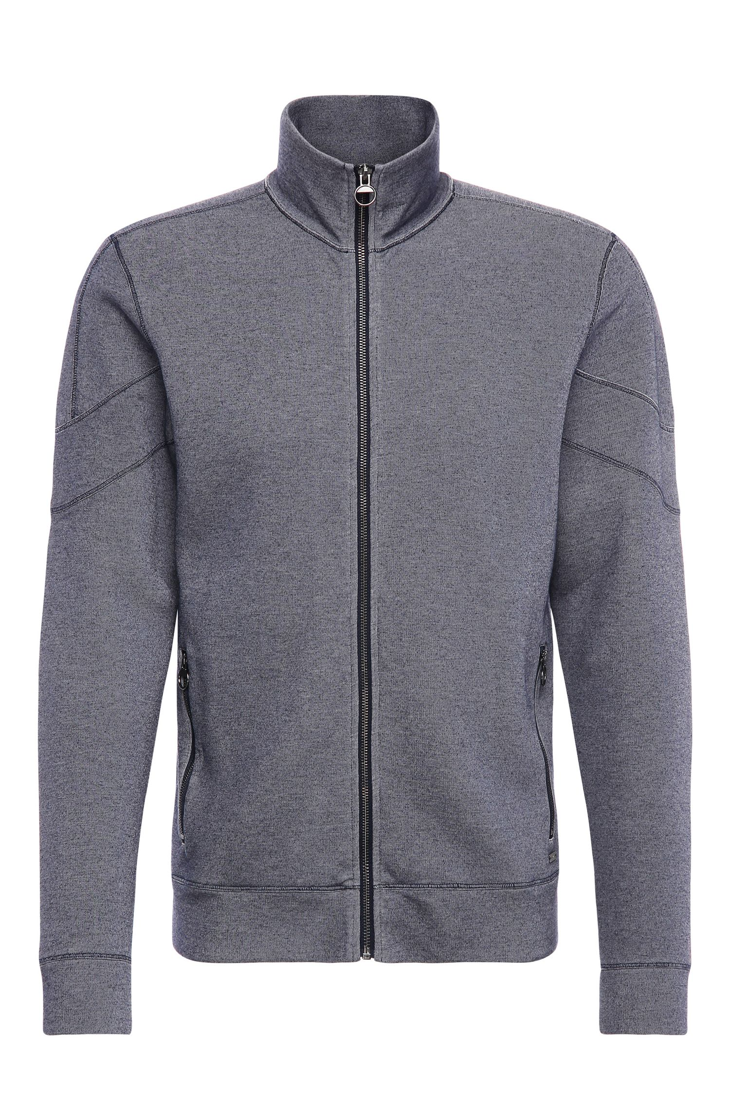 Cotton Blend Indigo Zip Jacket | Zycle