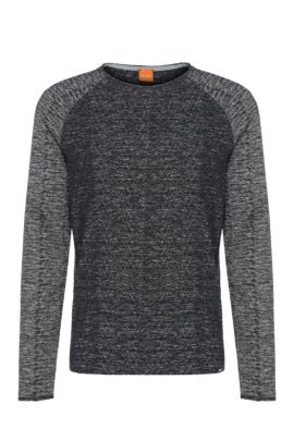 'Welles' | Cotton Blend Melange Sweatshirt, Dark Blue