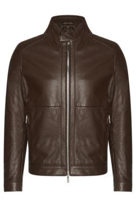 'Nortilo'   Lambskin Biker Jacket, Dark Brown