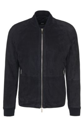'Gorin' | Goat Suede Leather Perforated Jacket, Dark Blue