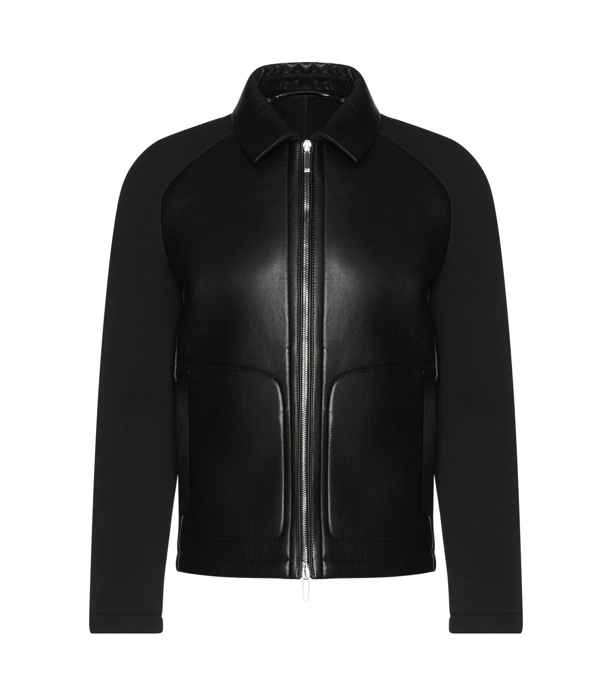 Italian Lambskin Bonded Jersey Jacket   T-Corvis, Black