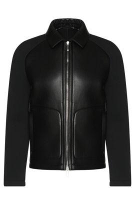 Italian Lambskin Bonded Jersey Jacket | T-Corvis, Black