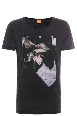 'Torvind' | Cotton Lily Print T-Shirt, Black