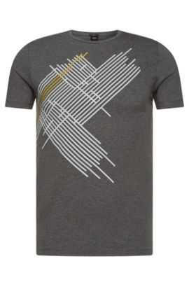 Cotton Graphic Print T-Shirt | Tessler, Grey