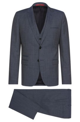 Italian Super 100 Virgin Wool 3-Piece Suit, Slim Fit | Arney/Wilord/Hyls, Open Blue